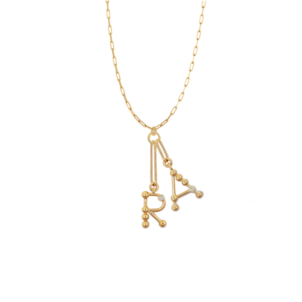 2 letter initial charm necklace