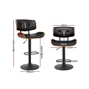 Artiss Kitchen Bar Stool Gas Lift Stool Chairs Swivel Barstool Leather Black x1