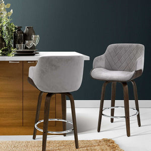 Artiss 1x Kitchen Bar Stools Wooden Bar Stool Chairs Swivel Velvet Fabric Grey - KOTi HOME Furniture