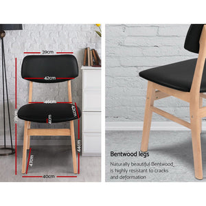 Set of 2 Ari Wood Dining Chairs - Black - KOTi HOME