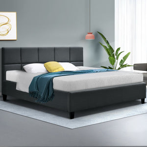 Artiss TINO Queen Size Bed Frame Base Fabric Headboard Wooden Mattress