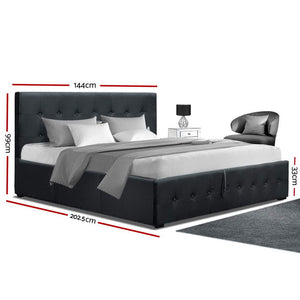 Gas Lift Double Bed Frame - Charcoal