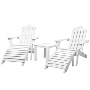 Gardeon Outdoor Sun Lounge Beach Chairs Table Setting Wooden Adirondack Patio Chair
