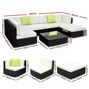 7PC Outdoor Wicker Sofa Lounge- Black & Beige