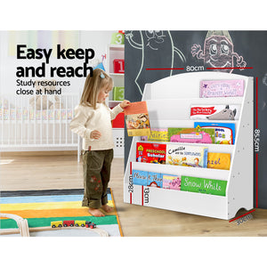 Keezi 5 Tiers Kids Bookshelf Magazine Rack Shelf Organiser Bookcase Display