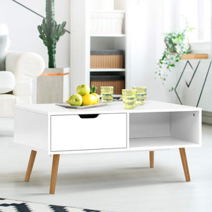 Artiss Coffee Table Storage Drawer Open Shelf Wooden Legs Scandinavian White