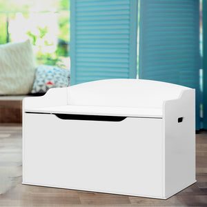 Keezi Kids Toy Box Storage Cabinet Chest Blanket Children Clothes Organiser White