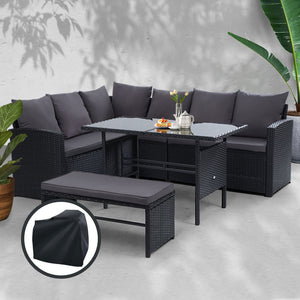 Gardeon Outdoor Furniture Sofa Set Dining Setting Wicker 8 Seater Storage Cover Black
