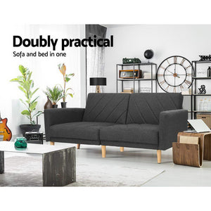Artiss Sofa Bed Lounge 3 Seater Futon Couch Wood Furniture Dark Grey Fabric 193cm