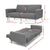 Artiss 1950mm 3 Seater Sofa Bed Recliner Lounge Couch Futon Grey Fabric - KOTi HOME Furniture