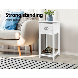 Artiss Bedside Table Nightstand Drawer Storage Cabinet Lamp Side Shelf White