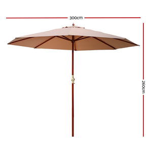Instahut 3M Outdoor Pole Umbrella Cantilever Stand Garden Umbrellas Patio Beige