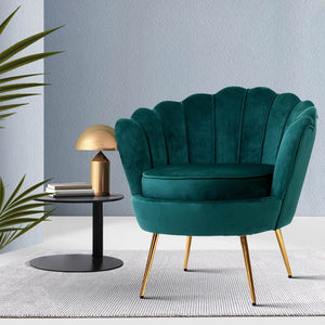 Artiss Armchair Lounge Chair Accent Armchairs Retro Lounge Accent Chair Single Sofa Velvet Shell Back Seat Green