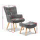 LANSAR Armchair and Ottoman- Grey