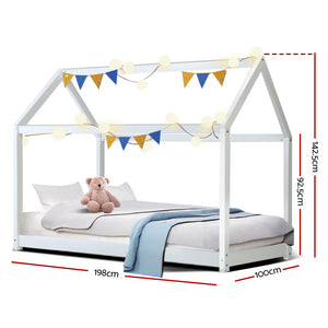 CASA Kids Wooden Single Bed Frame-  White