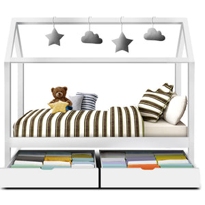 BALI Kids Wooden Single Bed Frame with Storage- White