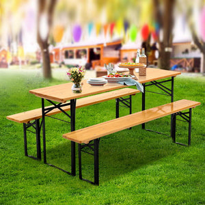 Artiss Wooden Outdoor Foldable Bench Set - Natural