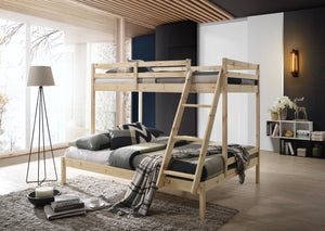 Solid Timber Triple Bunk Bed Single over Double Natural