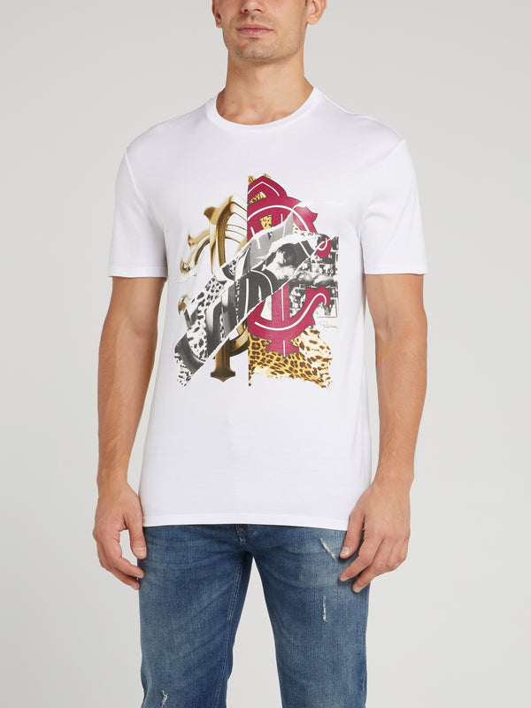 White Graphic Print Logo T-Shirt