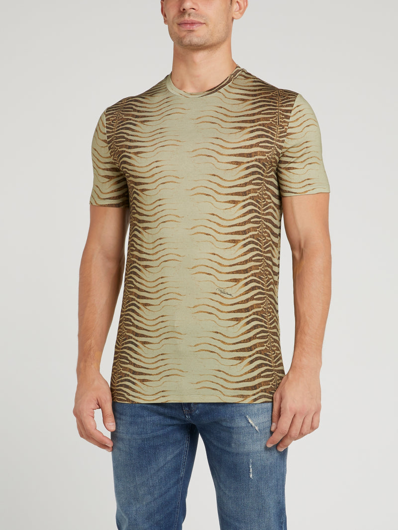 Brown Tiger Effect T-Shirt
