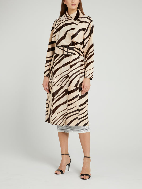 Animal Print Leather Coat