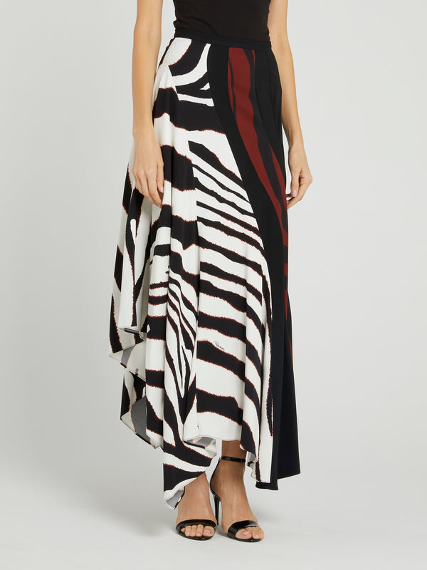 Animal Print Flounce Midi Skirt