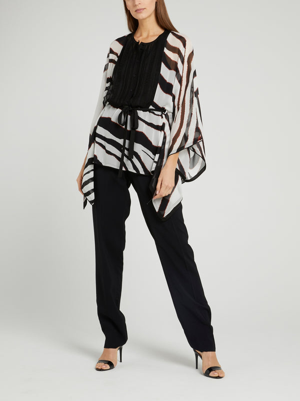 Animal Print Perforated Bib Top