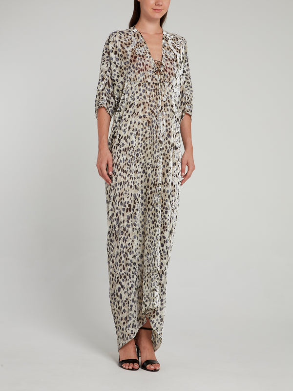 Animal Print Maxi Shift Dress