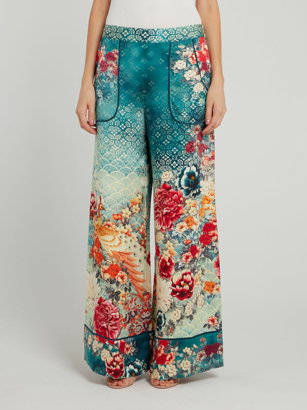 Cuffed Silk Lounge Trousers