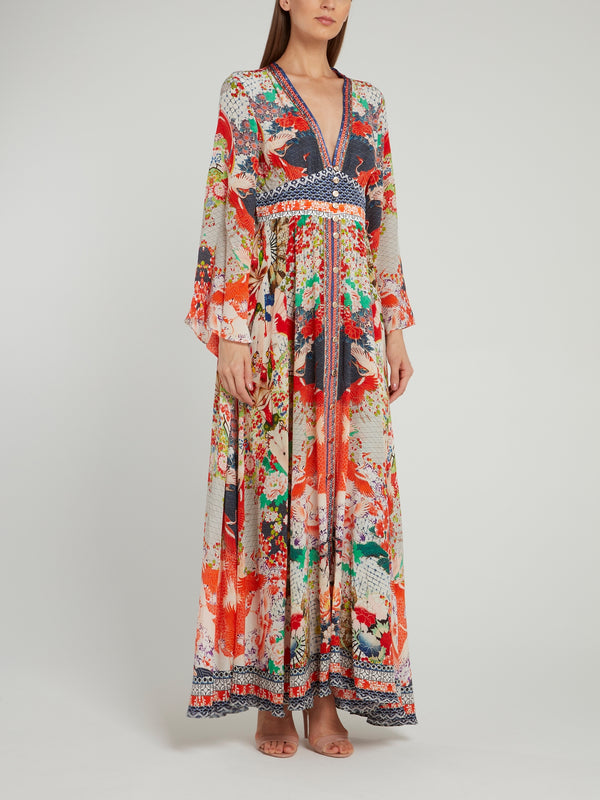 Shirred Waist Kimono Sleeve Dress