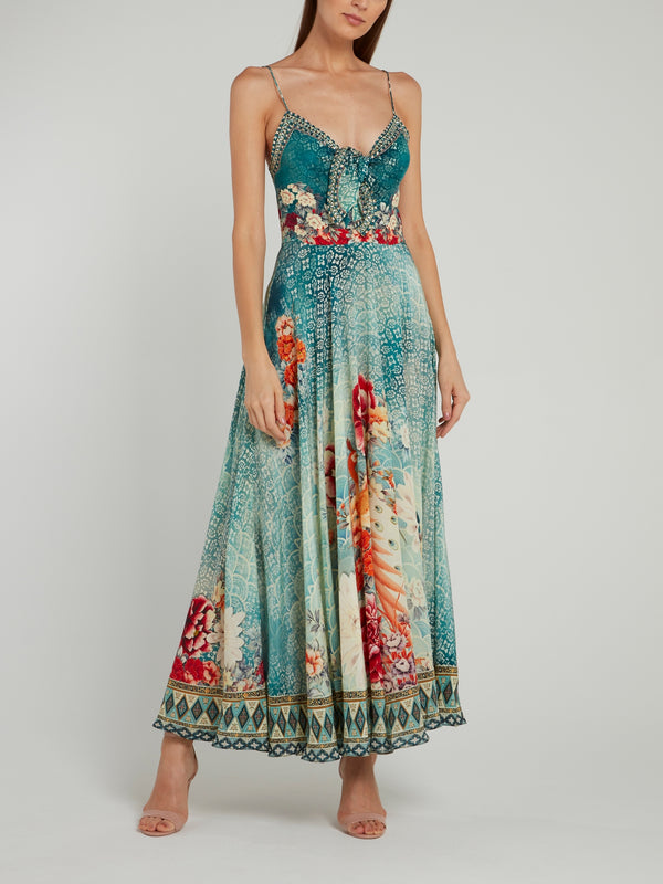 Tie Front Pleated Maxi Dress