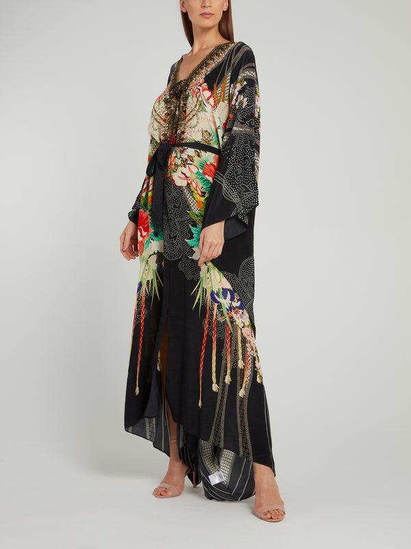 Split Hem Lace Up Kaftan