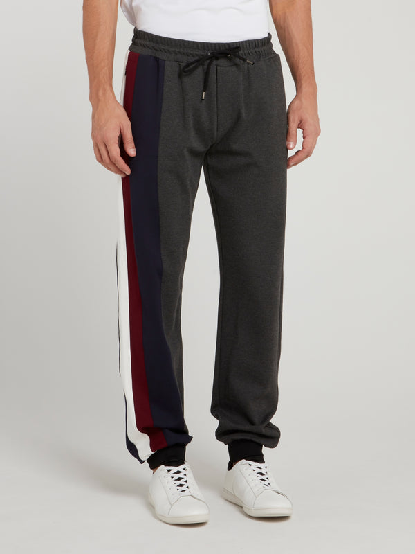 Grey Colour Block Trousers