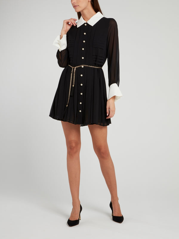 Pearl Button Up Pleated Mini Dress