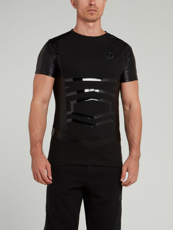 Black Leather Panel Logo T-Shirt