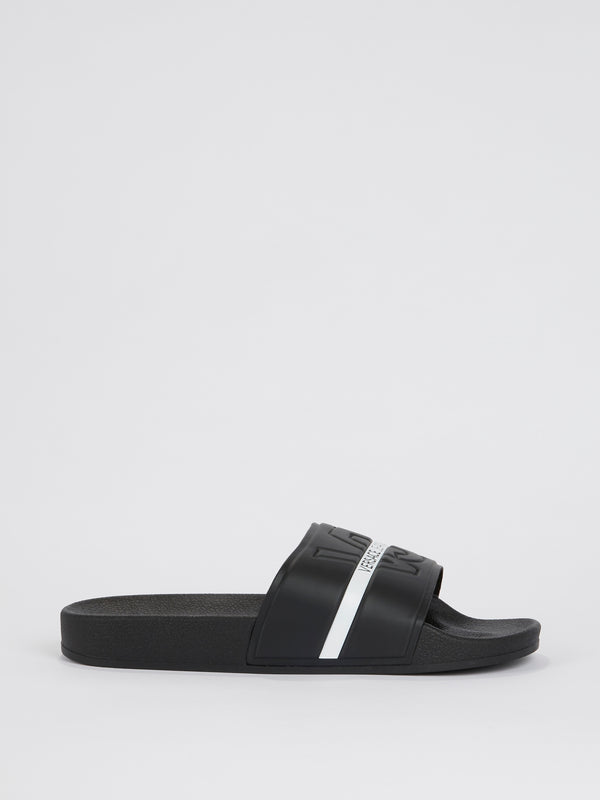 Black With White Stripe Logo Slides