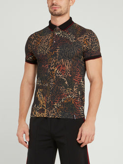 Leopard Print Cotton Polo Shirt