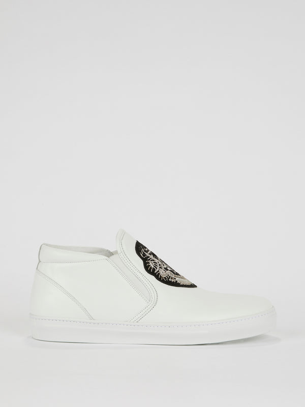 White Logo Embroidered Leather Sneakers