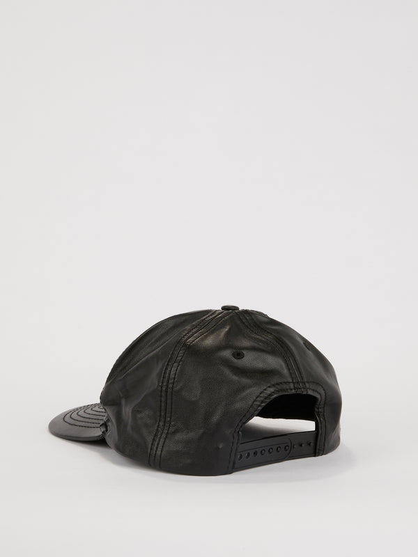 Black Appliquéd Leather Cap