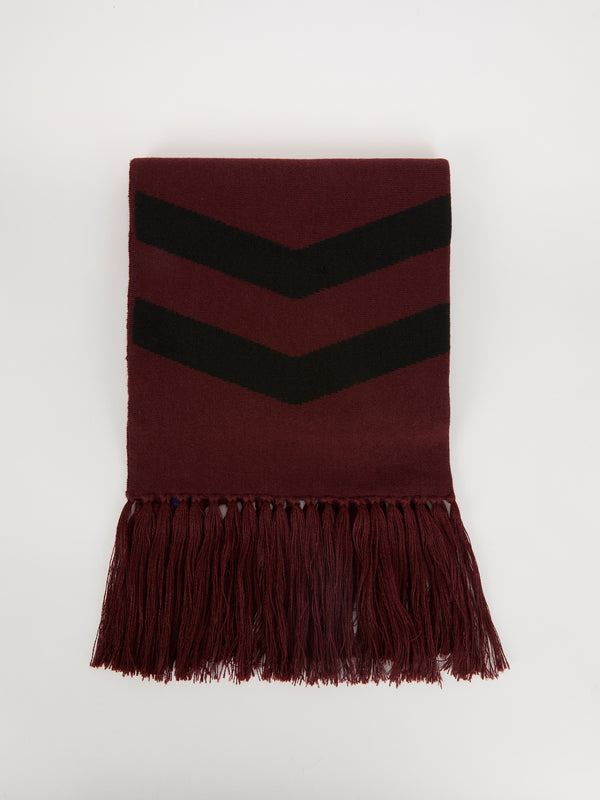 Burgundy Chevron Frayed Scarf