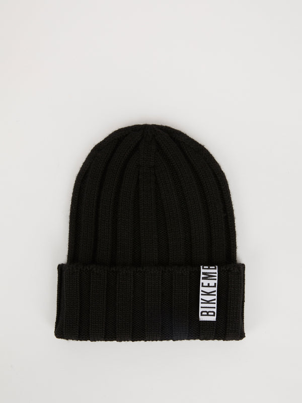 Black Fold Over Ribbed Beanie