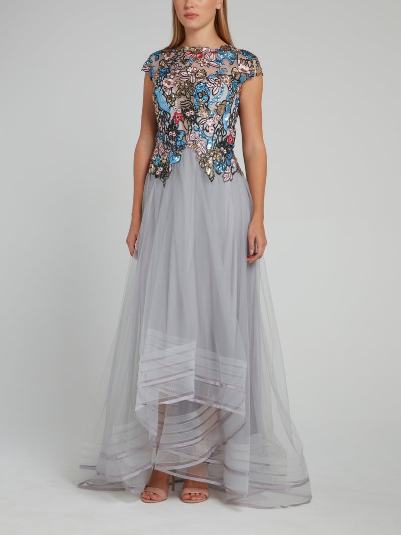 Sequin Embroidered Tulle Dress