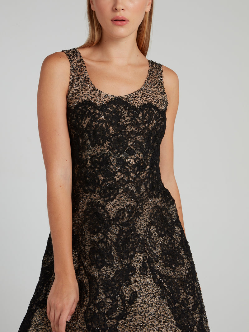 Lace Detail Embellished Maxi Dress