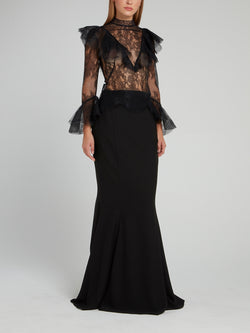 Black Mermaid Tulle Maxi Dress