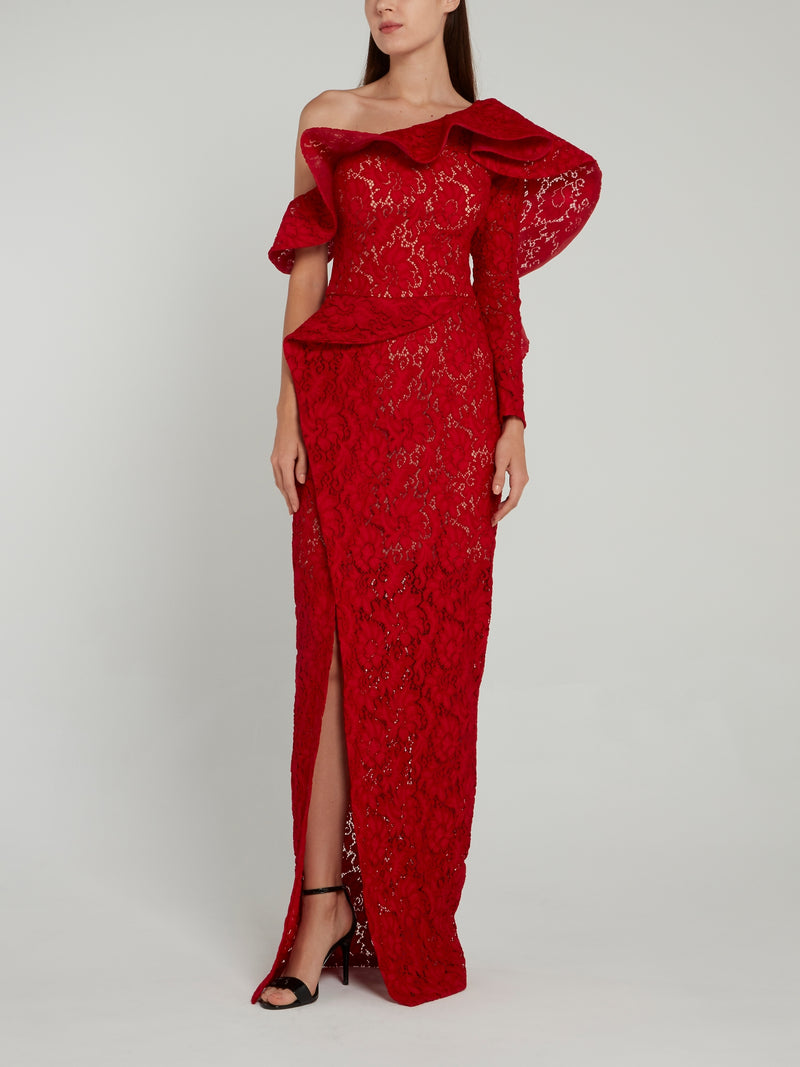 Red Asymmetric Lace Maxi Dress