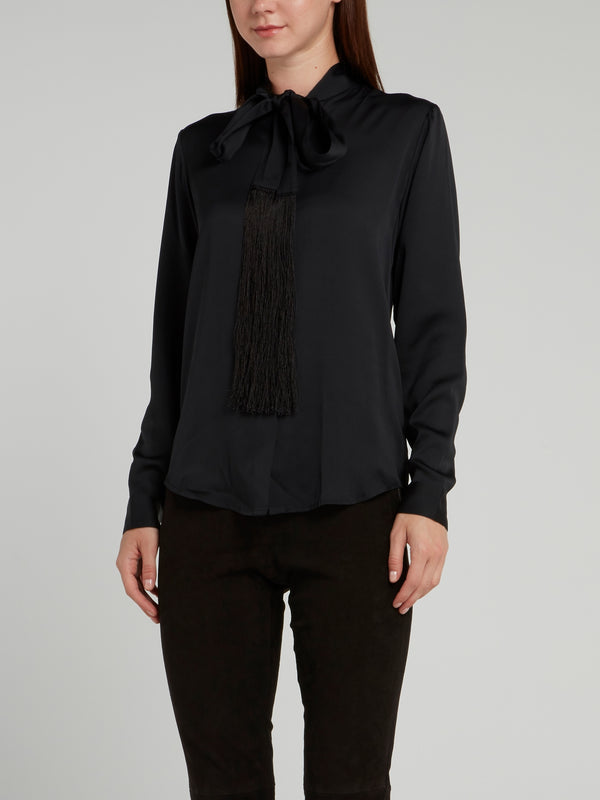 Black Satinised Georgette Tie Shirt
