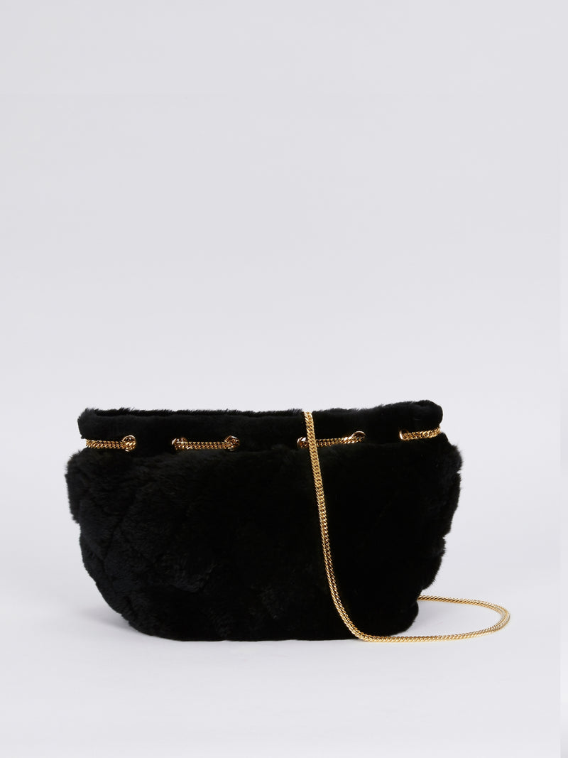 Black Fur Chain Detail Handbag