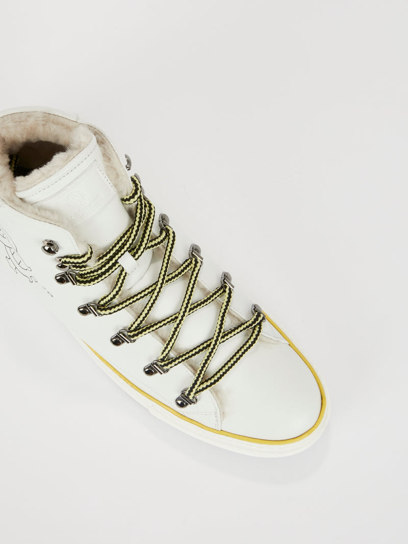 White Logo High Top Sneakers