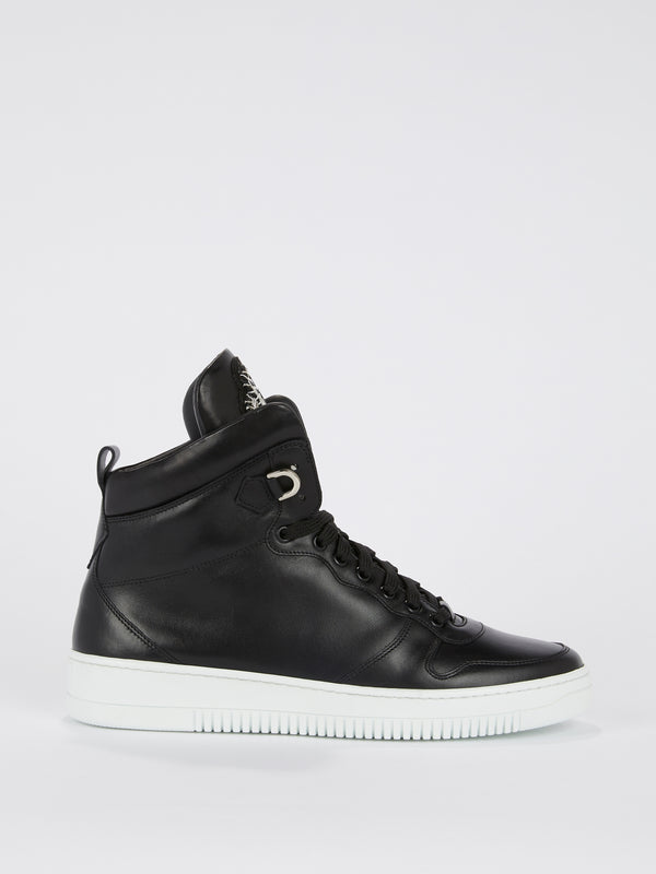Black Patent Leather High Top Sneakers