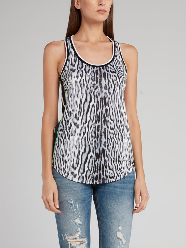 Animal Print Net Back Tank Top